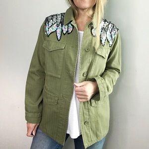 TOPSHOP Sequin Wing Motif green Shacket Jacket 4
